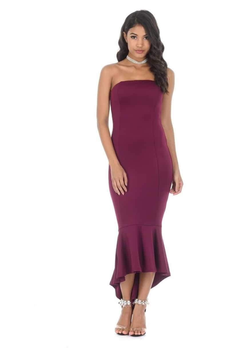 Plum bandeau dress