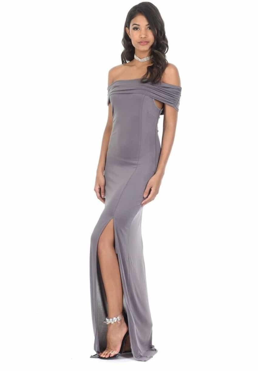 pewter off shoulder dress