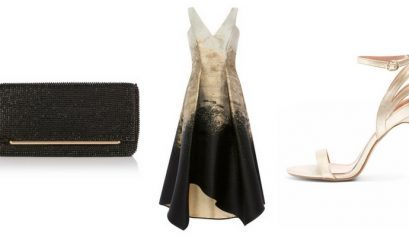 gold and black wedding guest outfit