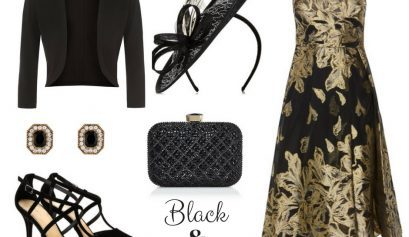 Black and gold wedding outfit