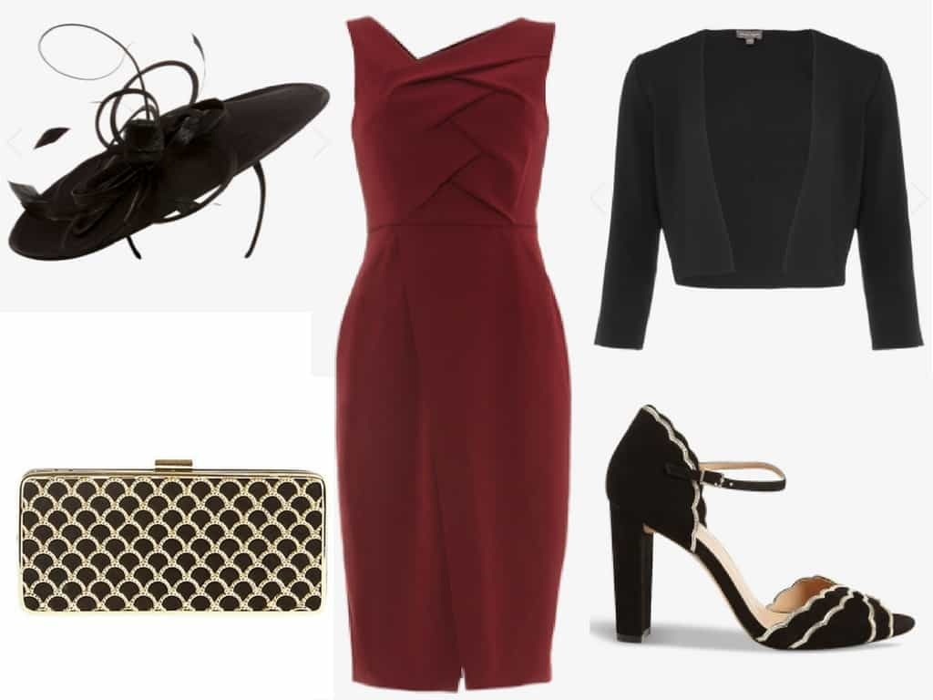 red and black jacques vert outfit