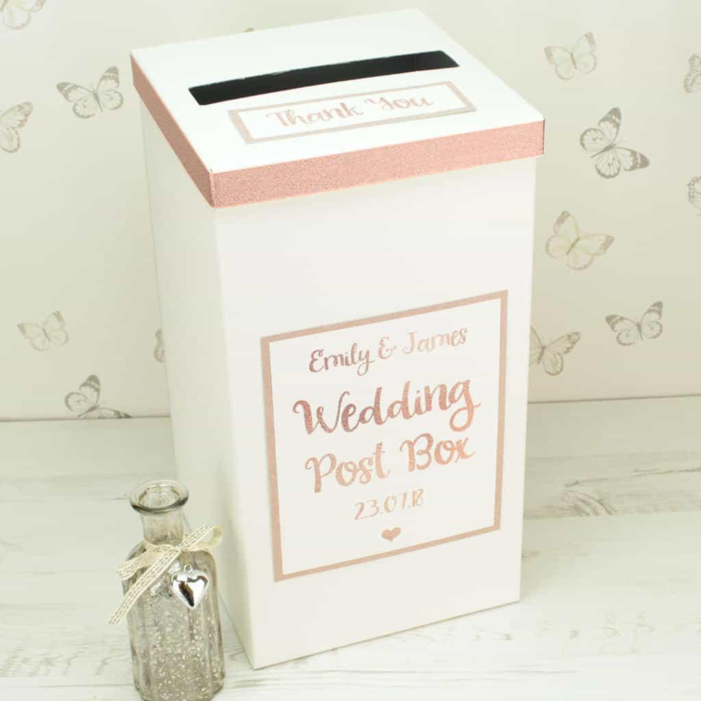 rose gold wedding postbox