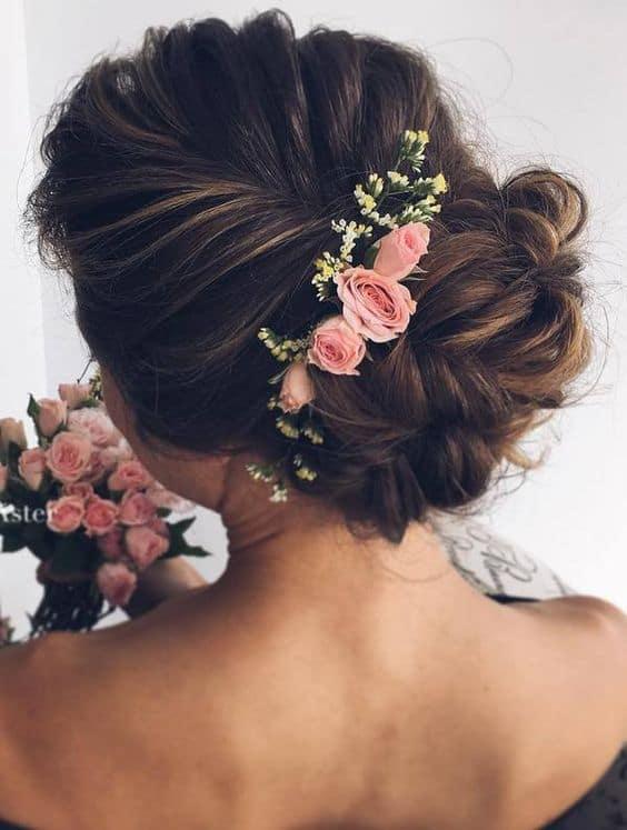 pink floral up do
