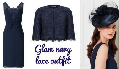 Glam navy lace outfit