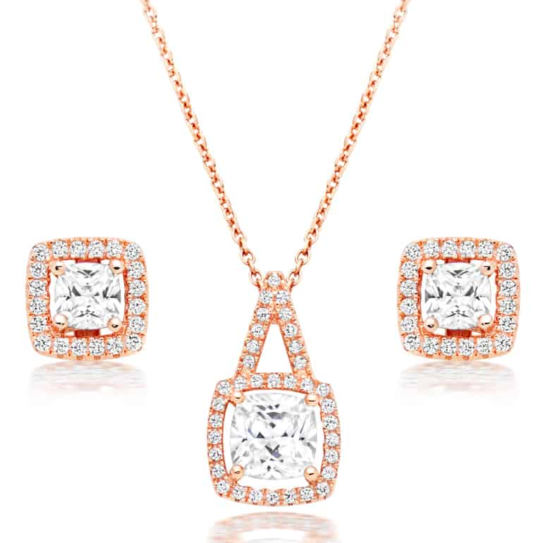 rose gold jewellery set