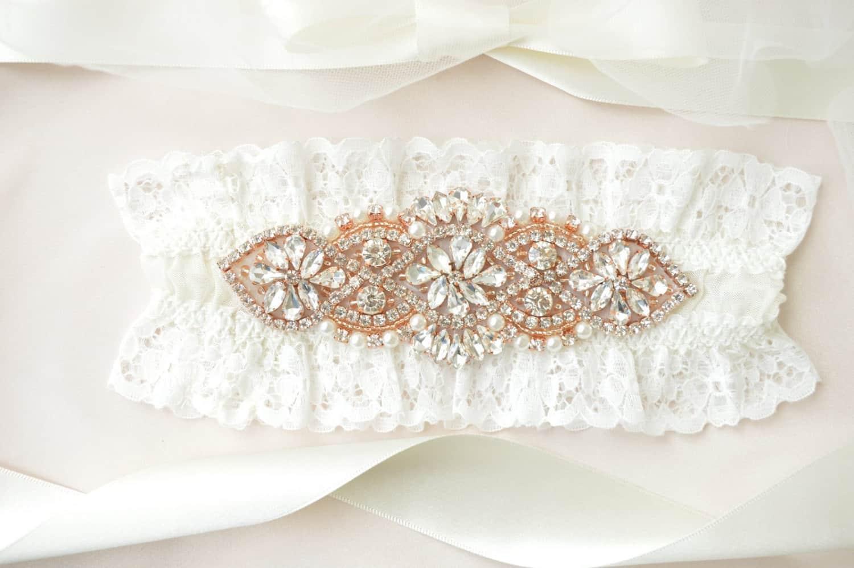 rose gold bridal garter