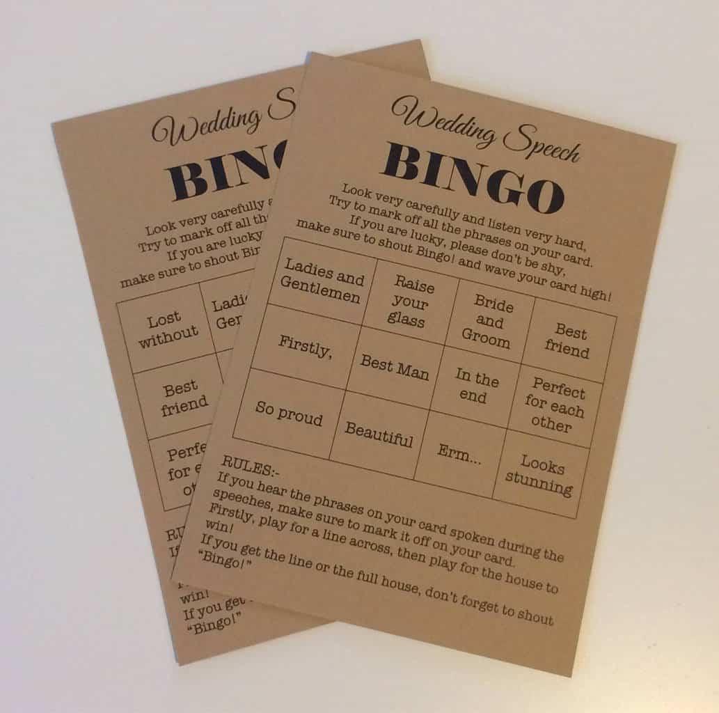 wedding speech bingo